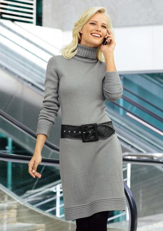 Модные вязаные платья 3